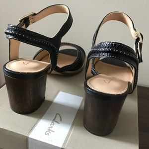 "6ac6231b96c4 Clarks Shoes - Clark s ""Ellis Clara"" black leather sandals"